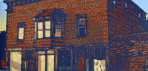 """6th Street Stop"" Color reduction relief print 5 1/2 x 11 1/4 Edition size: $200 unframed"