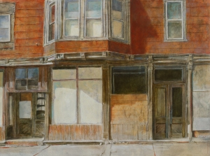 "Red Building Oil on panel 12"" x 16"" $520"
