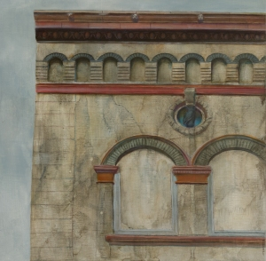 "Owl Building Oil on panel 12"" x 12"" $390"